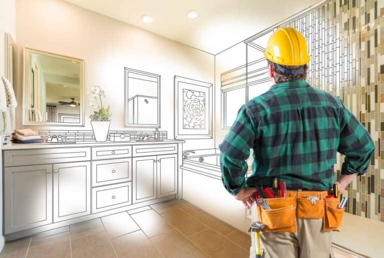 Builder looking at kitchen