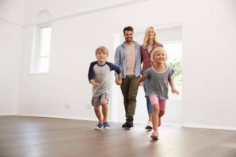 Family running through front door